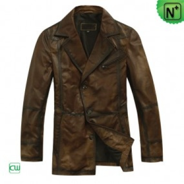 Mens Brown Leather Coat CW819018 - m.cwmalls.com